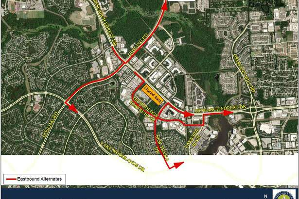 Officials with the San Jacinto River Authority and Montgomery County Precinct 3 Commissioner James Noack are both advising drivers in The Woodlands to use these alternate routes to get around the continued closure of the eastbound lanes of Research Forest Drive between Technology Forest Boulevard and New Trails Drive. The lanes will be closed for an undetermined time period as repairs continue.
