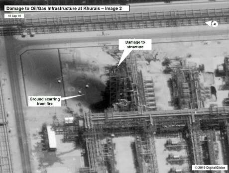 This satellite overview handout image obtained Sept. 16, 2019 courtesy of the U.S. Government shows damage to oil/gas infrastructure from weekend drone attacks at Khurais oil field on September 15, 2019 in Saudi Arabia.
