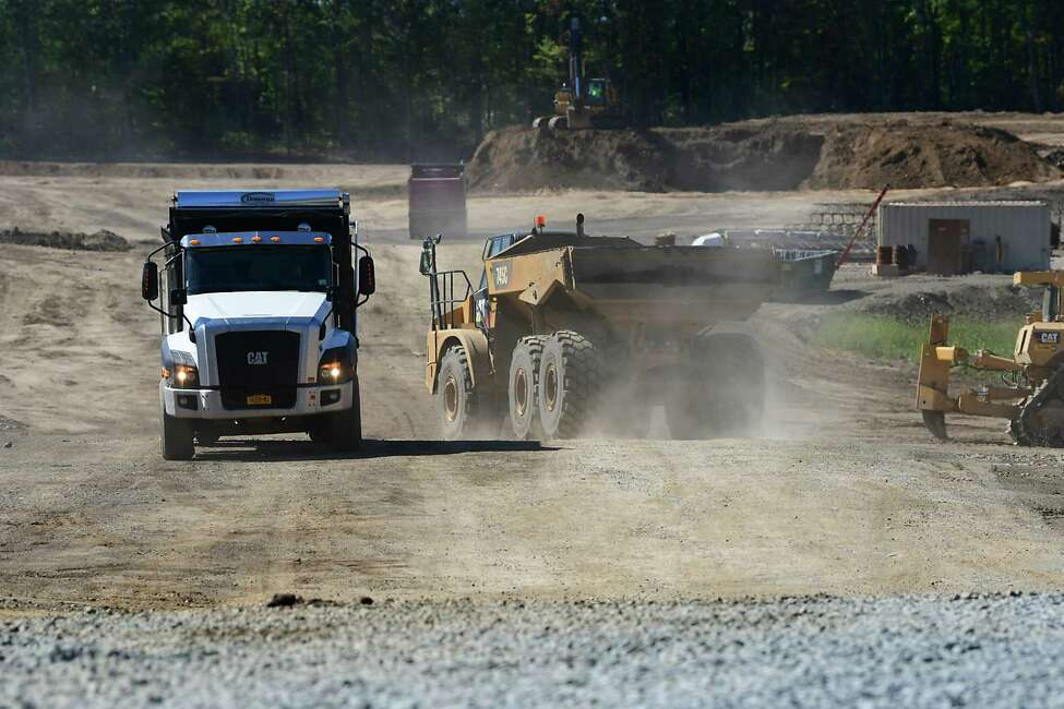 Progress continues clearing the site for the Amazon distribution center on Route 9 on Tuesday, Sept. 17, 2019 in Schodack, N.Y. (Lori Van Buren/Times Union)