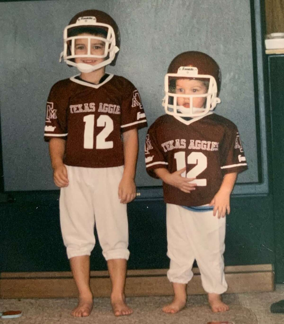 Cagan Baldree, left, at age 5 with brother Callahan, has made good on his desire to play for the Aggies.