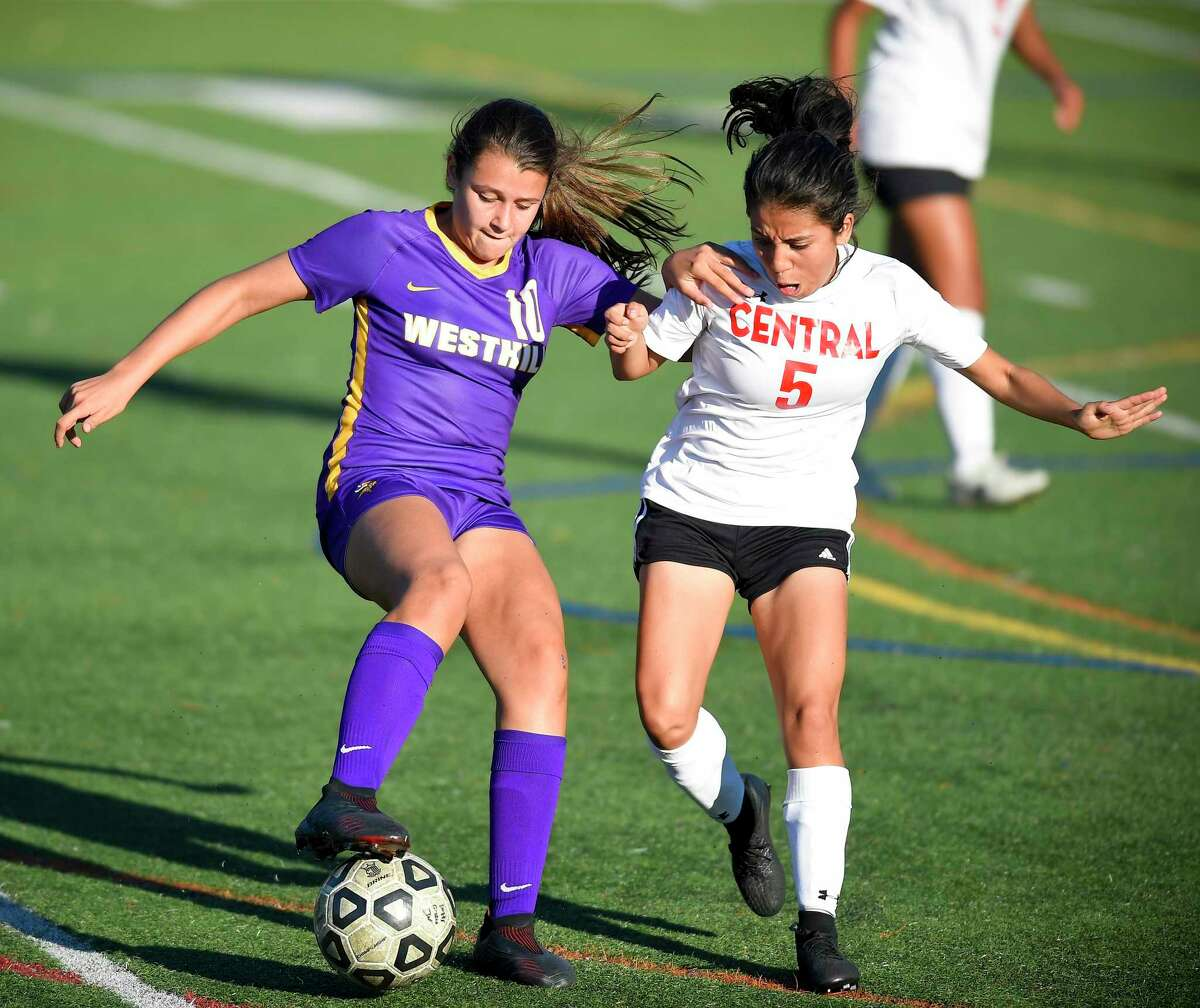 Westhill freshman Sofia Romero (10) battles for the ball against Bridgeport Central's Lucia Hernandez. Romero took command of the turf with three goals leading the Lady Vikings in their 5-0 shutout over Bridgeport Central in a FCIAC girls soccer game on Sept. 17, 2019 in Stamford.