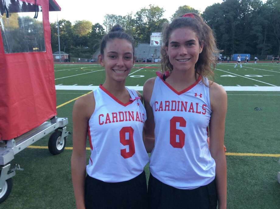 Isabella Lattuada, left and Demis Janis helped lead the Greenwich High field hockey team to a 2-1 win vs. Fairfield Warde on September 17, 2019, in Greenwich. Photo: David Fierro /Hearst Connecticut Media