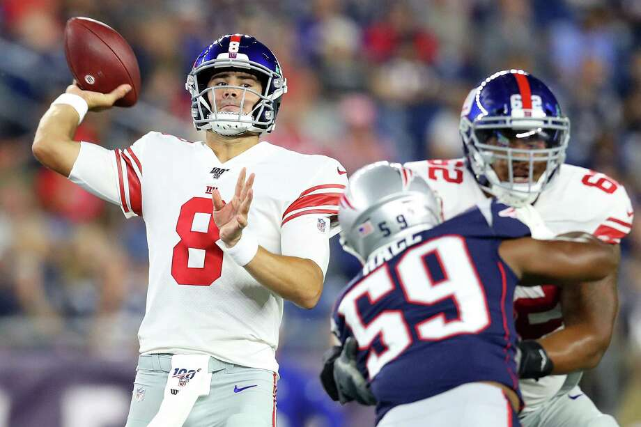 FOXBOROUGH, MASSACHUSETTS - AUGUST 29: Daniel Jones #8 of the New York Giants makes a pass during the preseason game between the New York Giants and the New England Patriots at Gillette Stadium on August 29, 2019 in Foxborough, Massachusetts. (Photo by Maddie Meyer/Getty Images) Photo: Maddie Meyer / 2019 Getty Images