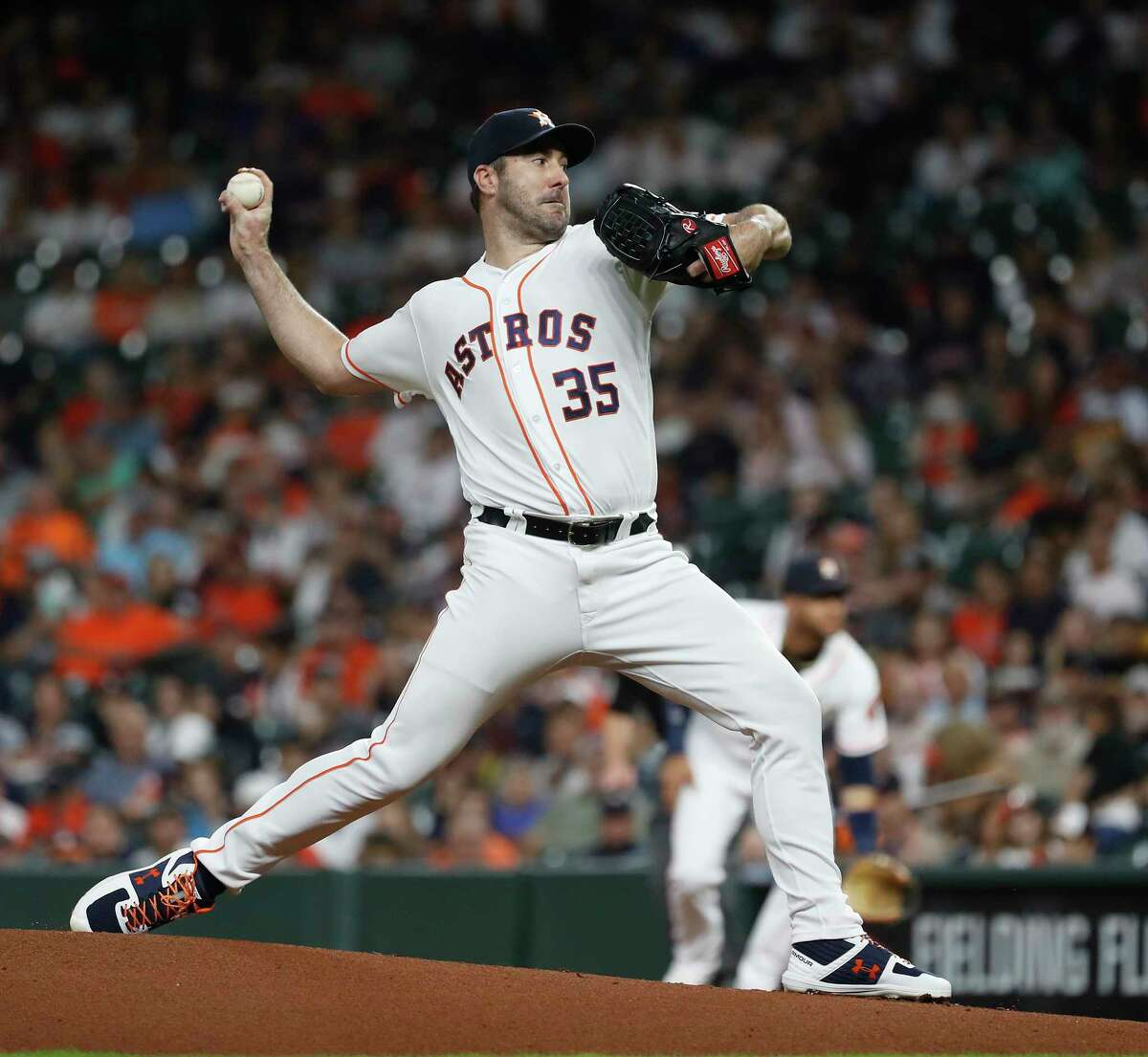 Houston Astros starting pitcher Justin Verlander (35) pitches during the first inning of an MLB baseball game at Minute Maid Park, Tuesday, Sept. 17, 2019, in Houston.