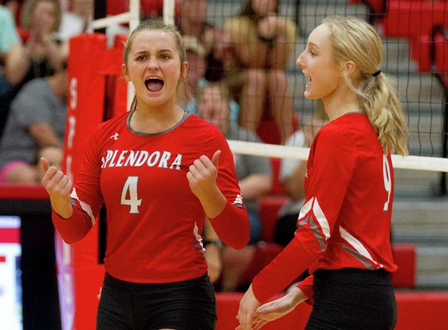 Splendora outside hitter Shaelyn Sanders (4) reacts after a point beside Katie Brzowski (9) during the first set of a non-district high school volleyball match at Splendora High School, Tuesday, Sept. 16, 2019, in Splendora. Photo: Jason Fochtman, Houston Chronicle / Staff Photographer / Houston Chronicle