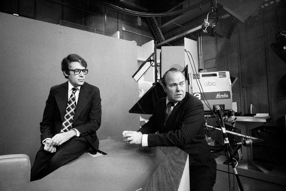 FILE -- Sander Vanocur, right, with the producer and director Av Westin at the ABC News Studios in New York, Aug. 23, 1977. Vanocur, the television newsman who became familiar to American viewers as a prominent White House correspondent during the Kennedy administration and as a tough questioner in presidential debates, died on Sept. 16, 2019, in a hospice facility in Santa Barbara, Calif. He was 91. (William E. Sauro/The New York Times)