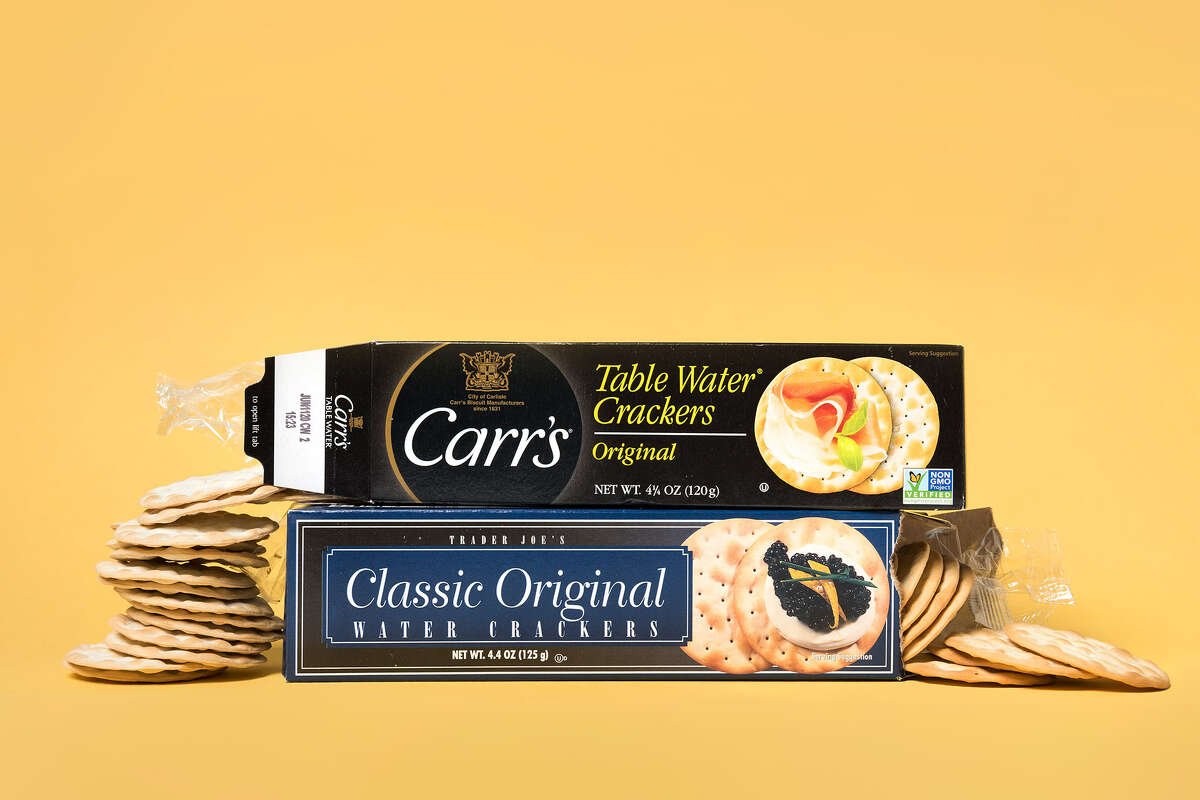 Trader Joe's Classic Original Water Crackers, $1.39 (below) and Carr's Table Water Crackers Original, $3.99 (above)
