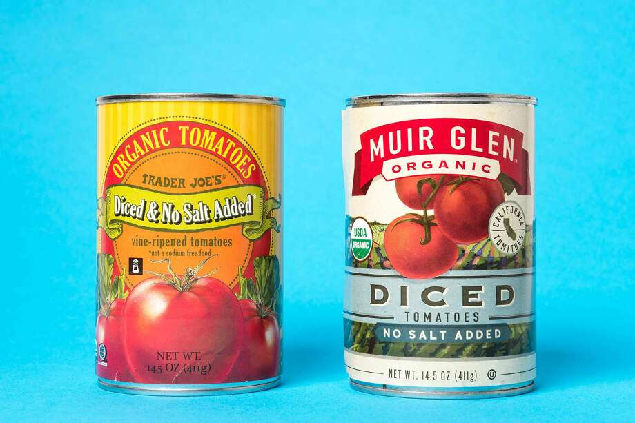 Trader Joe's Organic No-Salt Diced Tomatoes, $1.49 (left) and Muir Glen Organic No-Salt Diced Tomatoes, $2.69 (right) Photo: Blair Heagerty / SFGate