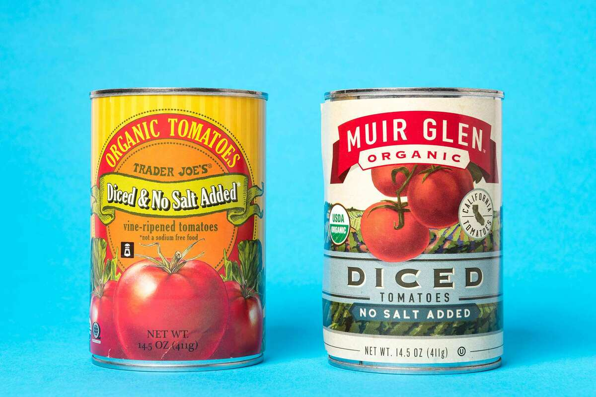 Trader Joe's Organic No-Salt Diced Tomatoes, $1.49 (left) and Muir Glen Organic No-Salt Diced Tomatoes, $2.69 (right)