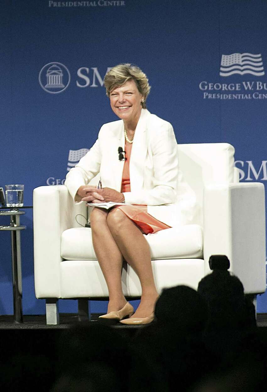 (FILES) In this file photo taken on June 30, 2015 journalist Cokie Roberts speaks with the Dalai Lama(not shown) during an event at the George W. Bush Presidential Center on the campus of Southern Methodist University in Dallas, Texas on July 1, 2015. - Renowned ABC News journalist and political commentator Cokie Roberts has died at the age of 75 due to complications from breast cancer on September 17, 2019. Roberts won countless awards, including three Emmys, throughout her decades-long career. She has been inducted into the Broadcasting and Cable Hall of Fame and was cited by the American Women in Radio and Television as one of the 50 greatest women in the history of broadcasting. She was named a
