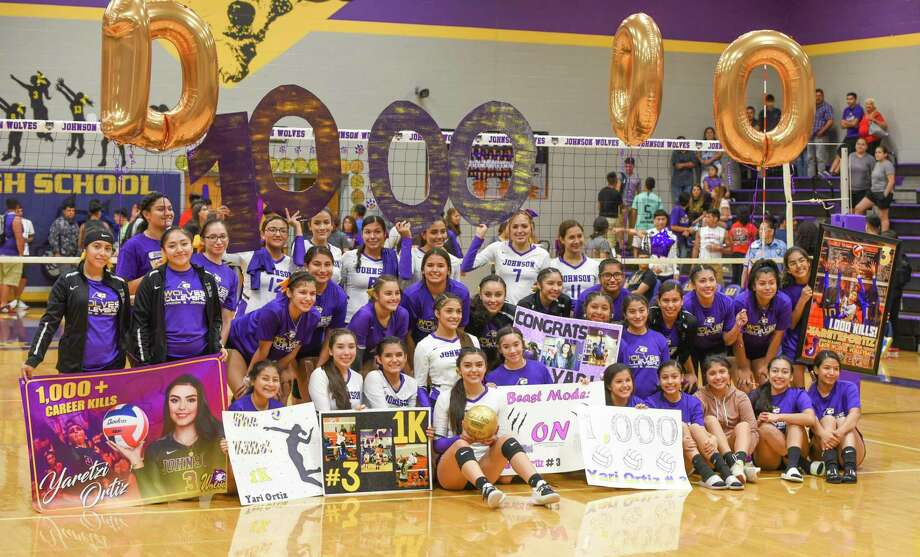 The LBJ volleyball team honored senior Yaretzi Ortiz on Tuesday for surpassing 1,000 career kills earlier this season. Ortiz had 17 kills Tuesday leading the Lady Wolves to a 3-0 sweep of Eagle Pass for their first district win. Photo: Danny Zaragoza / Laredo Morning Times