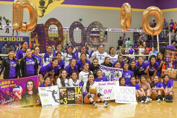 The LBJ volleyball team honored senior Yaretzi Ortiz on Tuesday for surpassing 1,000 career kills earlier this season. Ortiz had 17 kills Tuesday leading the Lady Wolves to a 3-0 sweep of Eagle Pass for their first district win.