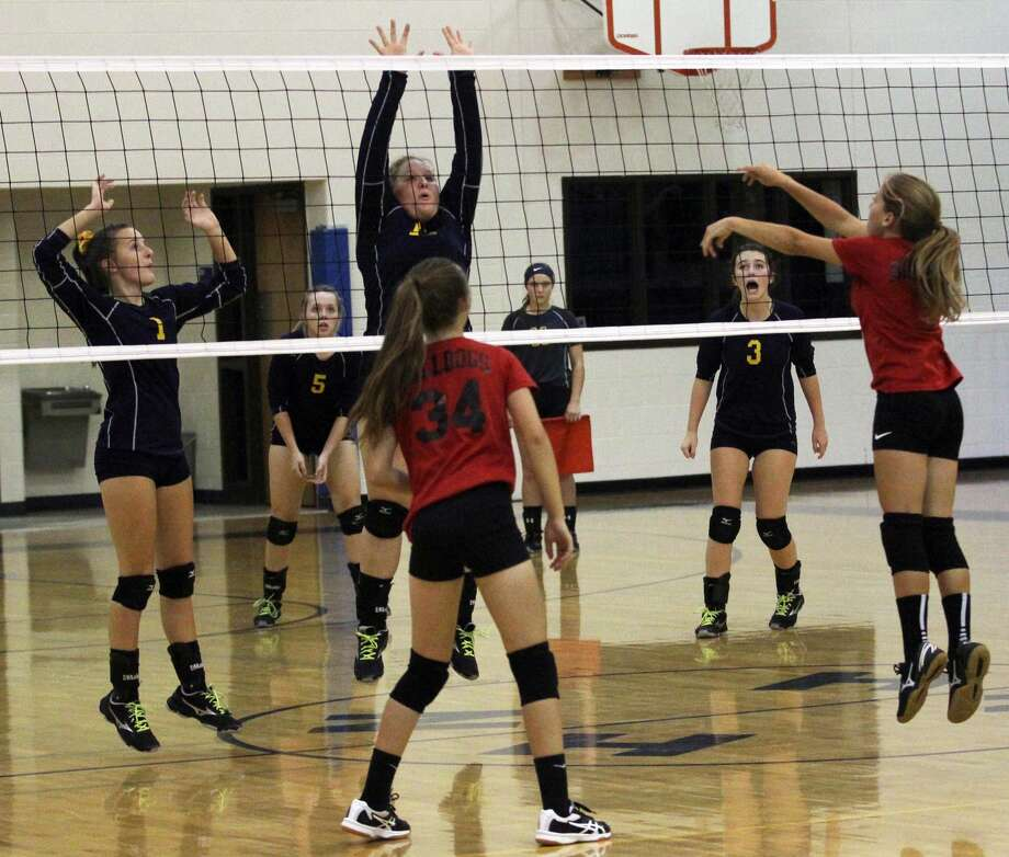 The North Huron Warriors and the Owen-Gage Bulldogs battled it out on the volleyball court on Tuesday night. The Warriors won in straight sets, 25-10, 25-22 and 25-15. Photo: Mark Birdsall/Huron Daily Tribune