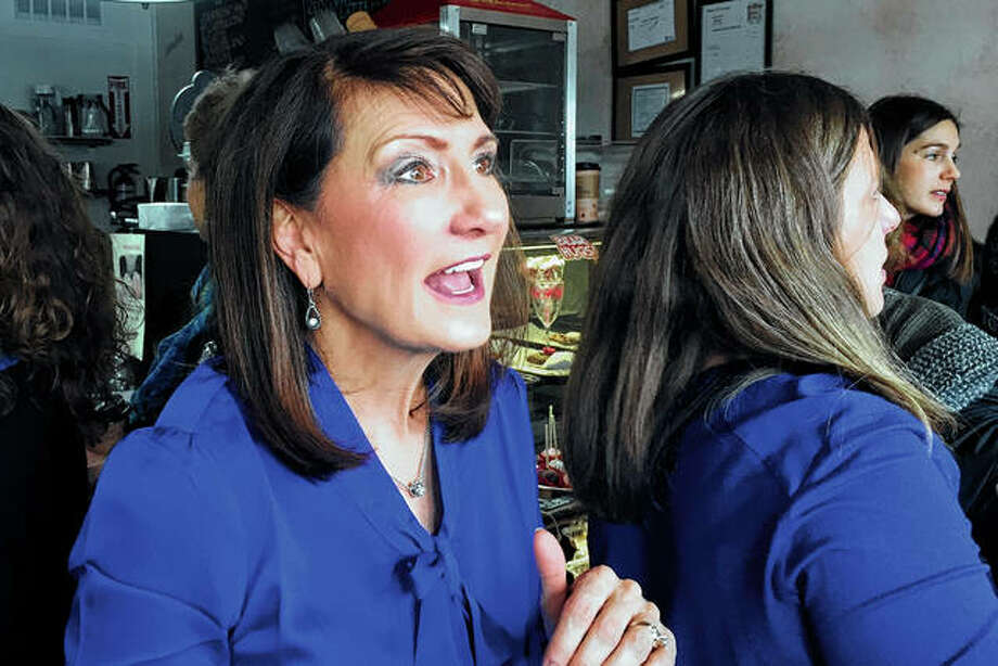 Marie Newman speaks with supporters in February 2018 at a campaign event in LaGrange. Rep. Alexandria Ocasio-Cortez is making her first endorsement of a liberal challenger to an incumbent House Democrat, backing Marie Newman in the primary against eight-term Rep. Daniel Lipinski in Illinois. Photo: Sara Burnett | Associated Press
