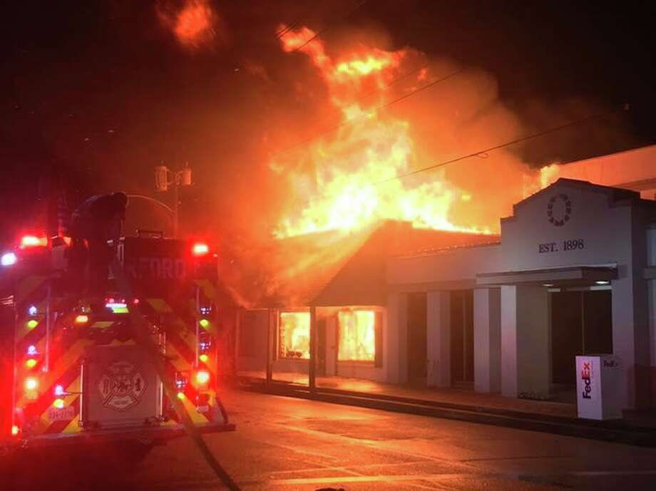A 5-alarm fire broke out at a Wharton newspaper and adjacent law office Tuesday night. Photo: Wharton Fire Department