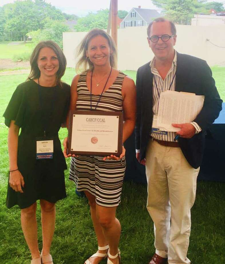 Village Crest Center for Health and Rehabilitation in New Milford, an affiliate of National Health Care Associates, has been recognized as a 2019 recipient of the Bronze - Commitment to Quality Award. Shown above are, from left to right, Filicia Ross, Village Crest admissions director, Laila Ferrar, director of social services at Village Crest, and Matthew Barrett, President/CEO, CAHCF/CCAL. Photo: Courtesy Of Village Crest Center For Health And Rehabilitation / The News-Times Contributed