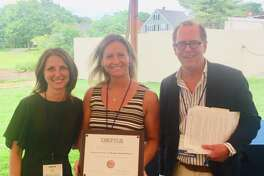 Village Crest Center for Health and Rehabilitation in New Milford, an affiliate of National Health Care Associates, has been recognized as a 2019 recipient of the Bronze - Commitment to Quality Award. Shown above are, from left to right, Filicia Ross, Village Crest admissions director, Laila Ferrar, director of social services at Village Crest, and Matthew Barrett, President/CEO, CAHCF/CCAL.