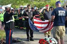 The town of New Milford will mark the 19th anniversary of 9/11 with a Sept. 11 ceremony. Above is a photograph from the 2019 morning ceremony.