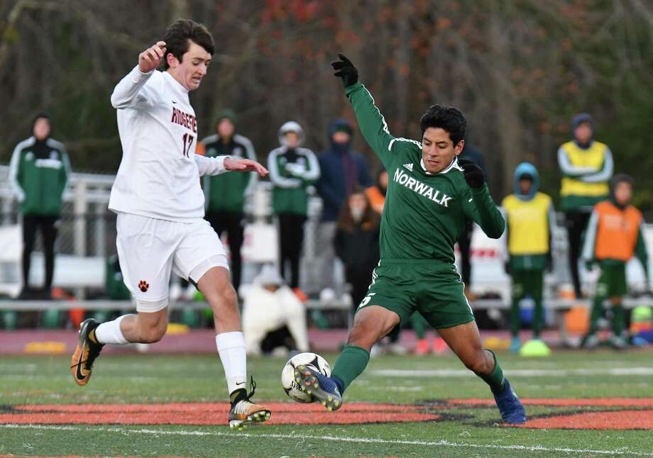 CIAC Class LL Boys Soccer quarter-final round game action between the Norwalk Bears and the Ridgefield Tigers on Friday November 10, 2017 in Ridgefield, Connecticut. Photo: Gregory Vasil / For Hearst Connecticut Media / Connecticut Post Freelance
