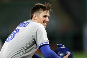 Toronto Blue Jays' Cavan Biggio looks toward the dugout after hitting a triple to complete the cycle, off Baltimore Orioles relief pitcher Mychal Givens during the ninth inning of a baseball game Tuesday, Sept. 17, 2019, in Baltimore. The Blue Jays won 8-5. (AP Photo/Julio Cortez)
