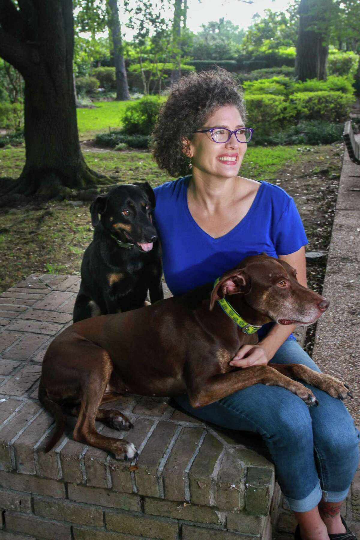 Jennifer Lopez, founder of Pupfit, an adventure exercise program for dogs, with her dogs Hazel and Xena.