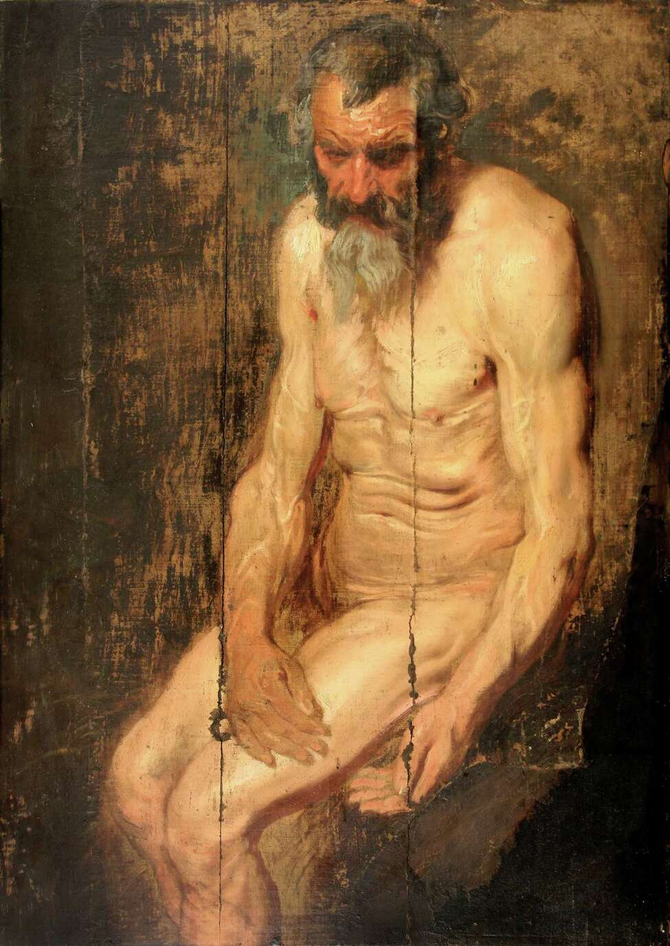 An oil sketch of Saint Jerome by Anthony van Dyck, which was the basis for van Dyck's later, full-size oil painting circa 1620, was discovered by Hudson-based art collector Albert B. Roberts. It is being displayted at the Albany Institute of History & Art from Sept. 18 to Oct. 6, 2019. (Photo courtesy AIHA.)