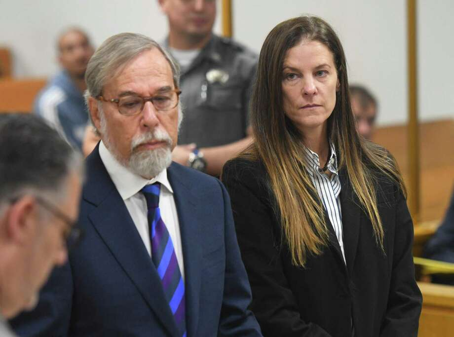 Michelle Troconis appears in court with her attorney Andrew Bowman during her arraignment at the state uperior Court in Norwalk,on Wednesday,. Troconis was arraigned on a new charge of tampering with evidence in relation to the disppearance of New Canaan resident Jennifer Farber Dulos. The hearing lasted less than one minute and scheduled Troconis to appear next at Connecticut Superior Court in Stamford on Oct. 10. Photo: Tyler Sizemore / Hearst Connecticut Media / Greenwich Time