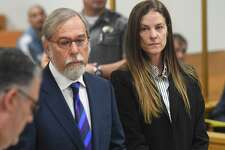 Michelle Troconis appears in court with her attorney Andrew Bowman during her arraignment at the Connecticut Superior Court in Norwalk, Conn. Wednesday, Sept. 18, 2019. Troconis was arraigned on a new charge of tampering with evidence in relation to the disppearance of New Canaan resident Jennifer Farber Dulos. The hearing lasted less than one minute and scheduled Troconis to appear next at Connecticut Superior Court in Stamford on Oct. 10.