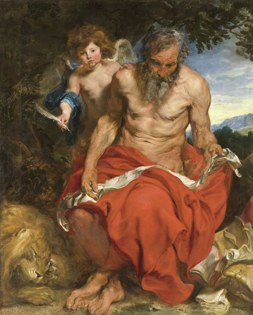 This painting of Saint Jerome with an angel, by 17th-century artist Anthony van Dyck, was one of atr least two of Saint Jerome that van Dyck painted. An earlier oil sketch of Saint Jerome, about half the size of the circa-1620 finished painting and used as the basis for it, was discovered by Hudson-based art collector Albert B. Roberts. The sketch is being displayed at the Albany Institute of History & Art from Sept. 18 to Oct. 6, 2019. (Photo courtesy AIHA.)