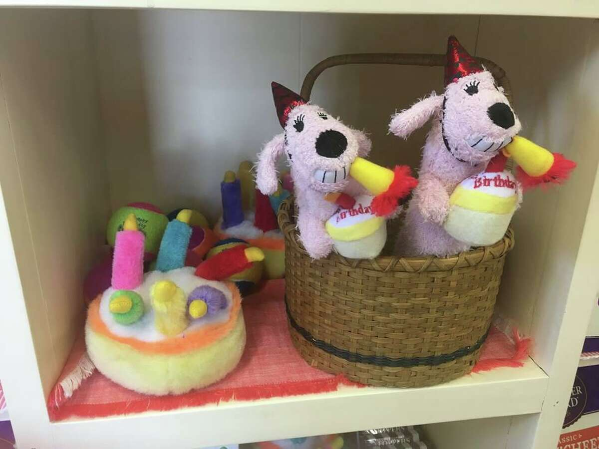 Birthday love: Your dog will have a birthday blast when gifted with fun toys like these from The Pawprint Market in Darien.