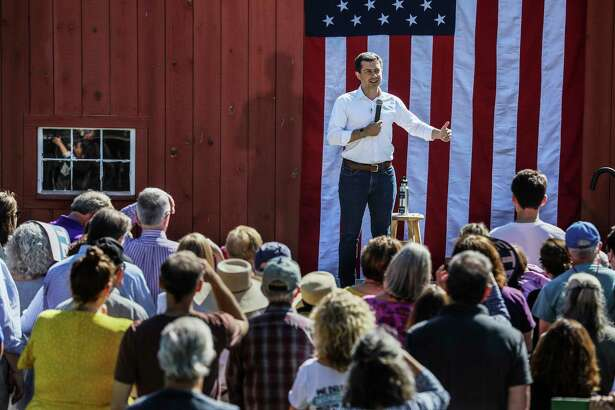 Democratic presidential candidate and South Bend, Ind., Mayor Pete Buttigieg speaks in Hancock, N.H., in August.