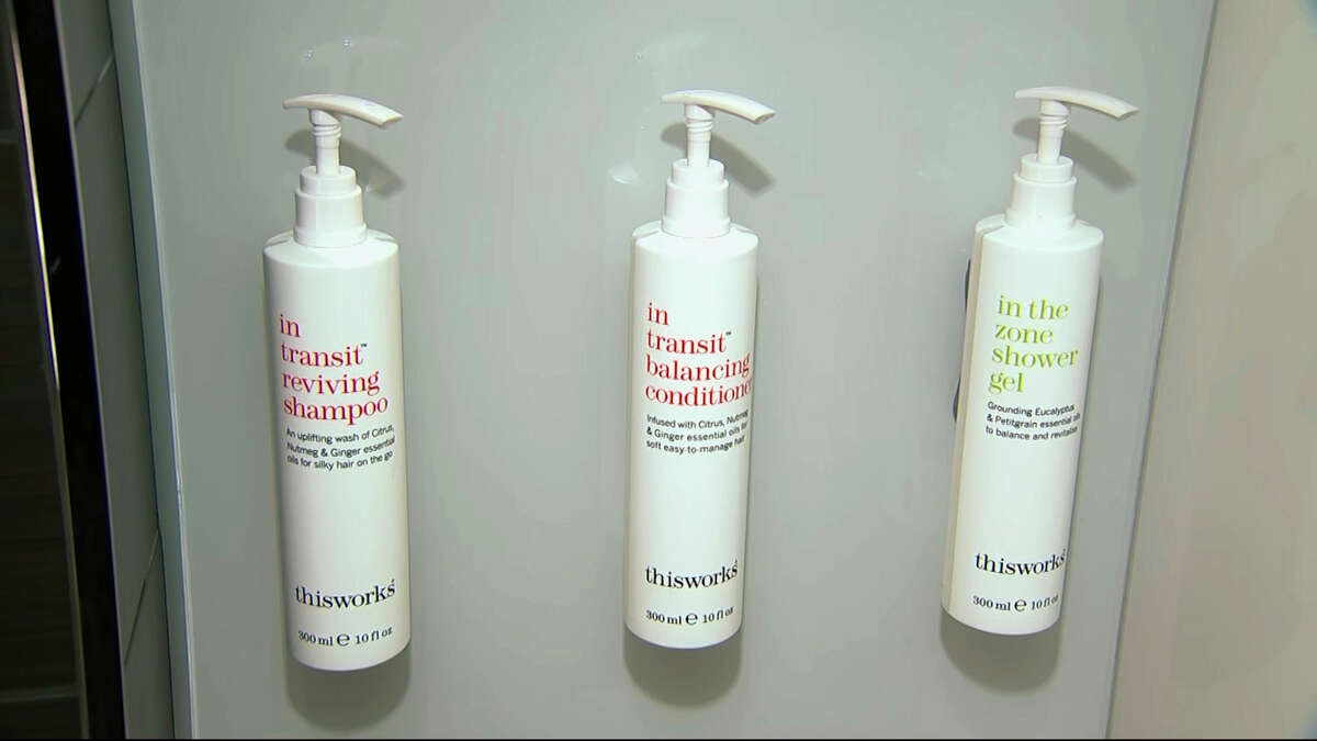 This image made from video shows bottles of shampoo, conditioner and shower gel that will replace smaller bottles of them by 2021, filmed at Marriott's headquarters in Bethesda, Md., Tuesday, Aug. 27, 2019. Marriott International, the world's largest hotel chain, said Wednesday it will eliminate small plastic bottles of shampoo, conditioner and bath gel from its hotel rooms worldwide by December 2020. They'll be replaced with larger bottles or wall-mounted dispensers, depending on the hotel.
