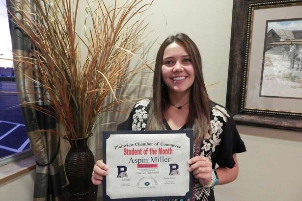 Aspin Miller, a Plainview High School senior, was recognized as this month's Student of the Month.