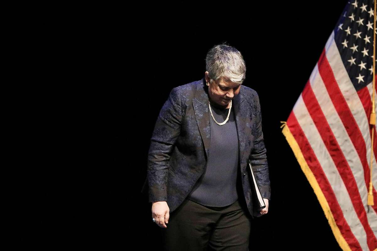 University of California President Janet Napolitano leaves the stage after speaking during the memorial service for former congresswoman Ellen Tauscher at the Lesher Center for the Arts on Thursday, June 6, 2019 in Walnut Creek, Calif.