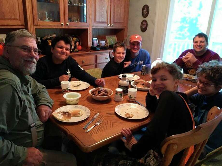"Hunters enjoy breakfast at the Lounsbury ""Deer Camp for Kids."" (Photo provided by Tom Lounsbury)"