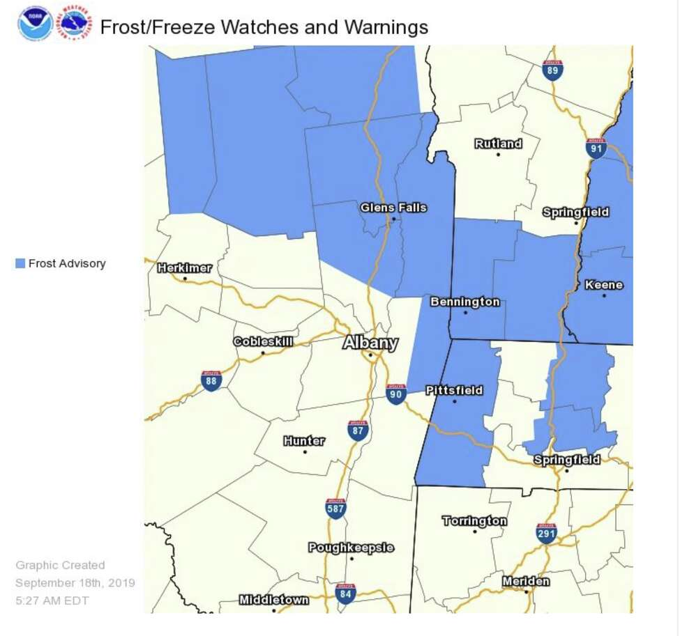 Tonight will be the coldest of the season so far. Frost advisories are posted from the Adirondacks down across Lake George/Saratoga, into Washington County, the Rensselaer Plateau and all of Bennington and Berkshire counties.