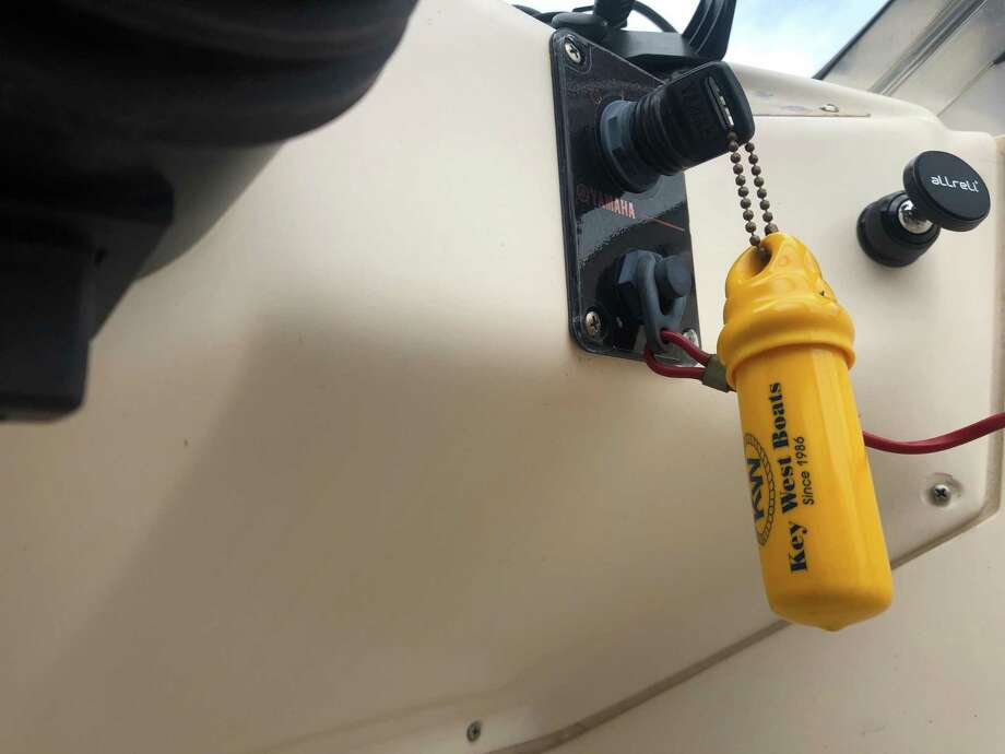 An emergency cut-off switch device that shuts off a boat's engine if the driver is thrown off is seen on a Montgomery County Precinct 1 Constable's marine division patrol boat. Photo: Courtesy Of The Montgomery County Precinct 1 Constable's Office