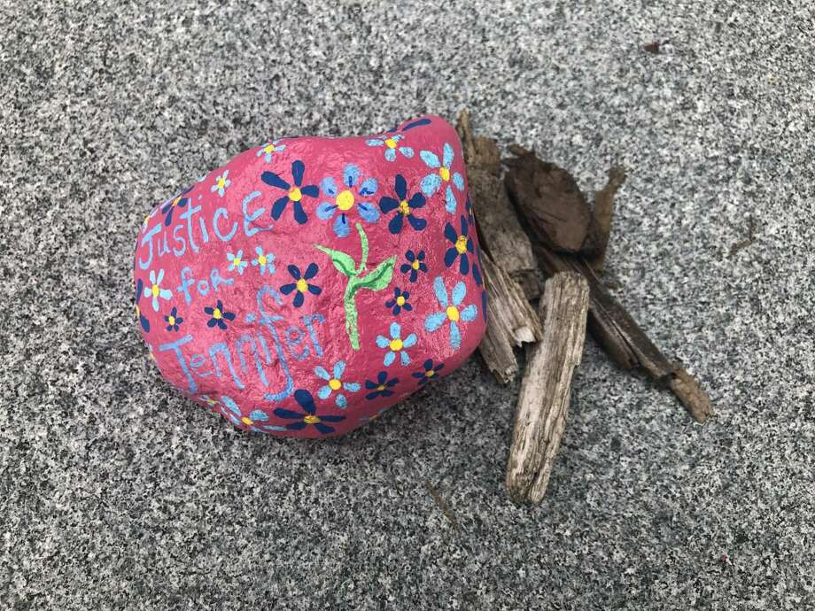 """Pictured is the rock that says """"Justice for Jennifer"""" outside of the entrance to New Canaan Town Hall on the Northside of the building. Contributed photo Photo: Contributed Photo"""