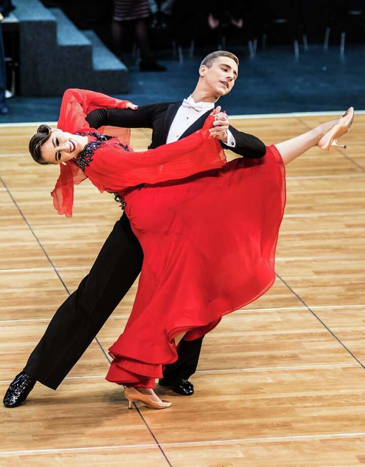 Alex Dubovyk and Rickie Taylor, undefeated United States ballroom champions, will bring their show to the Premier Ballroom's monthly event in Bridgeport September 28. The young couple will vie for the world crown in England this November. Photo: Premier Ballroom / Contributed Photo