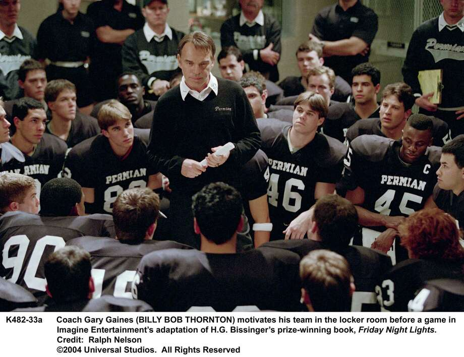 Coach Gary Gaines (BILLY BOB THORNTON) motivates his team in the locker room before a game in Imagine EntertainmentÕs adaptation of H.G. BissingerÕs prize-winning book, Friday Night Lights.     Credit:  Ralph Nelson.  HOUCHRON CAPTION  (10/12/2004) SECSTAR COLOR:  MOJO WORKIN': Coach Gary Gaines (Billy Bob Thornton) encourages the Permian Panthers in the powerful new film Friday Night Lights. Photo: Ralph Nelson / Universal Studios / handout CD