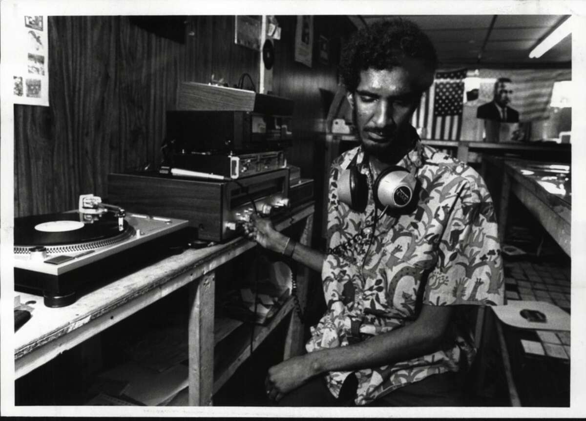 From the archives: How we listened to music. Albany, New York - Owner of Trilla's West Indian Record Shop, Michael Black, inside the Northern Boulevard store. August 31, 1989 (John Carl D'Annibale/Times Union Archive)