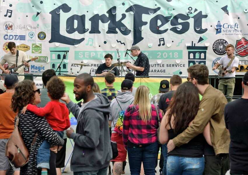 An Albany band, Becoming a Ghost, performs during LarkFest, one of upstate New York's largest one-day street festival Saturday Sept. 22, 2018 in Albany, NY. (John Carl D'Annibale/Times Union)