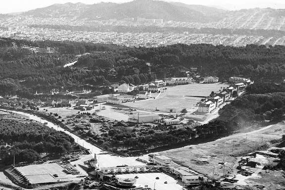 The Presidio and Crissy Field as seen from the top of the Golden Gate Bridge Tower, December 1948