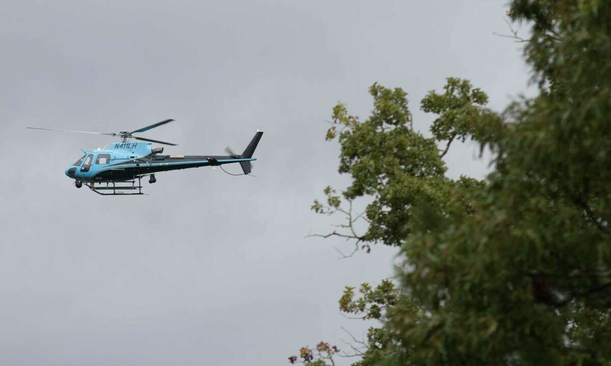 A helicopter helps search for 15 year old Ryder Cambron, Wednesday, Sept. 18, 2019. The Magnolia teen went missing Tuesday night after she went for a ride on an off-road vehicle near a wooded area in Montgomery County.