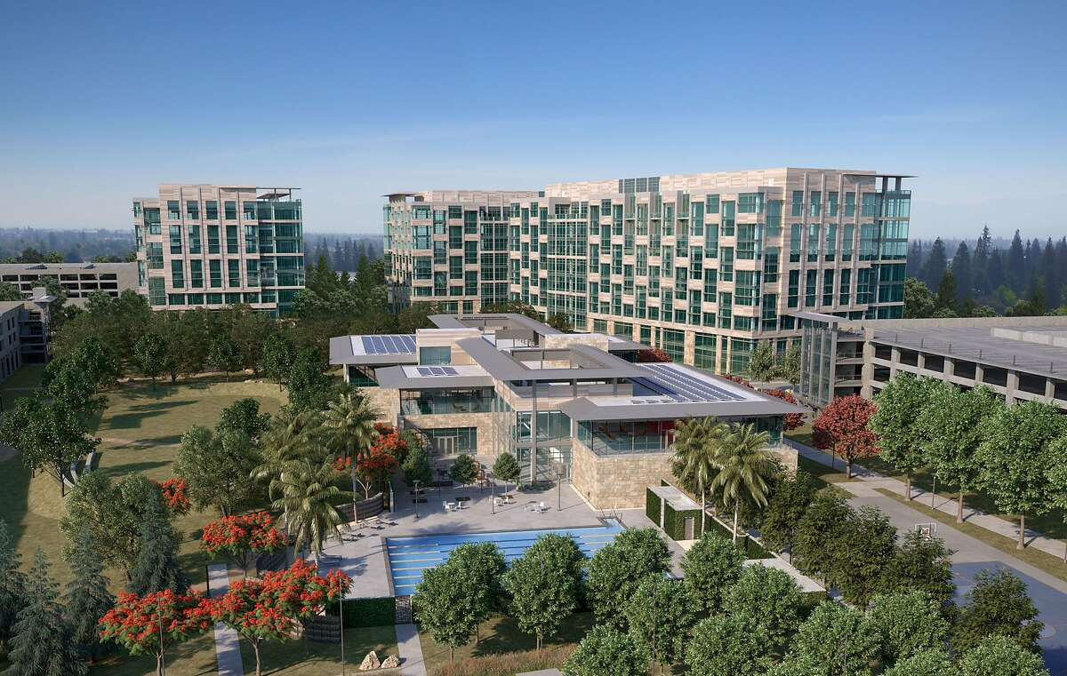 A rendering of Facebook's new Sunnyvale campus, which bans single-use plastic water bottles.