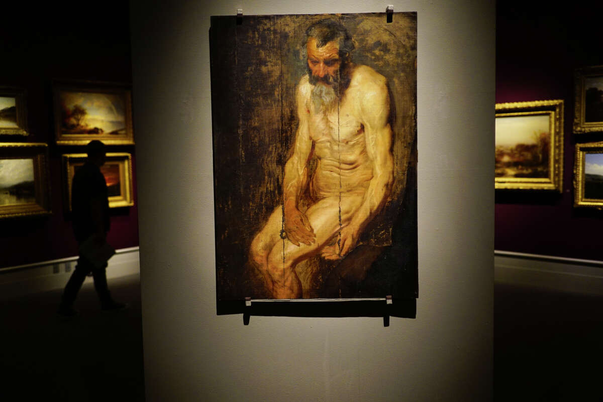 An oil sketch by Anthony van Dyck that he used for his painting entitled, St Jerome with an Angel, is seen on display at the Albany Institute of History and Art on Wednesday, Sept. 18, 2019, in Albany, N.Y. (Paul Buckowski/Times Union)