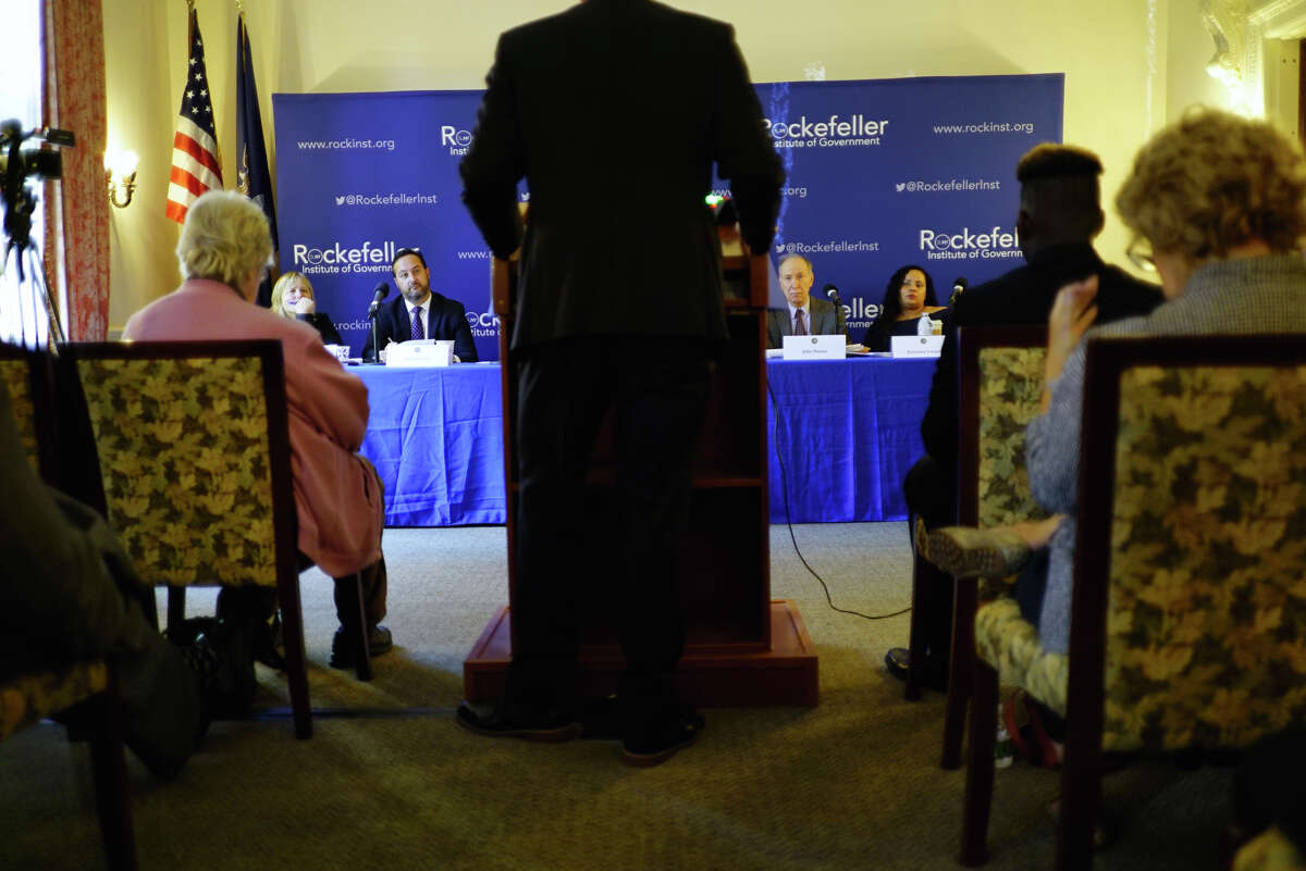 Members of the New York Public Campaign Finance Commission listen as Peter LaVenia, co-chair of the Green Party of New York, testifies at a hearing at the Rockefeller Institute of Government on Wednesday, Sept. 18, 2019, in Albany, N.Y. (Paul Buckowski/Times Union)