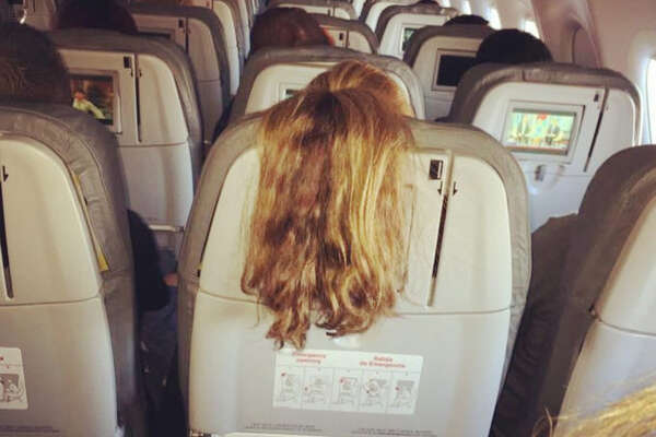 Former flight attendant Shawn Kathleen shares photos of passengers behaving badly on flights.