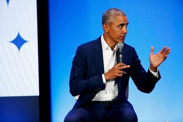 Former President Barack Obama converses during a town hall conversation with Golden State Warriors guard Stephen Curry (not pictured) and young men of color during the My Brother's Keeper (MBK) Rising! event at the Oakland Scottish Rite Center in Oakland, Calif. on Tuesday, February 19, 2019. My Brother�s Keeper (MBK) Rising! is a national gathering of the MBK Alliance, now an initiative of the Obama Foundation.