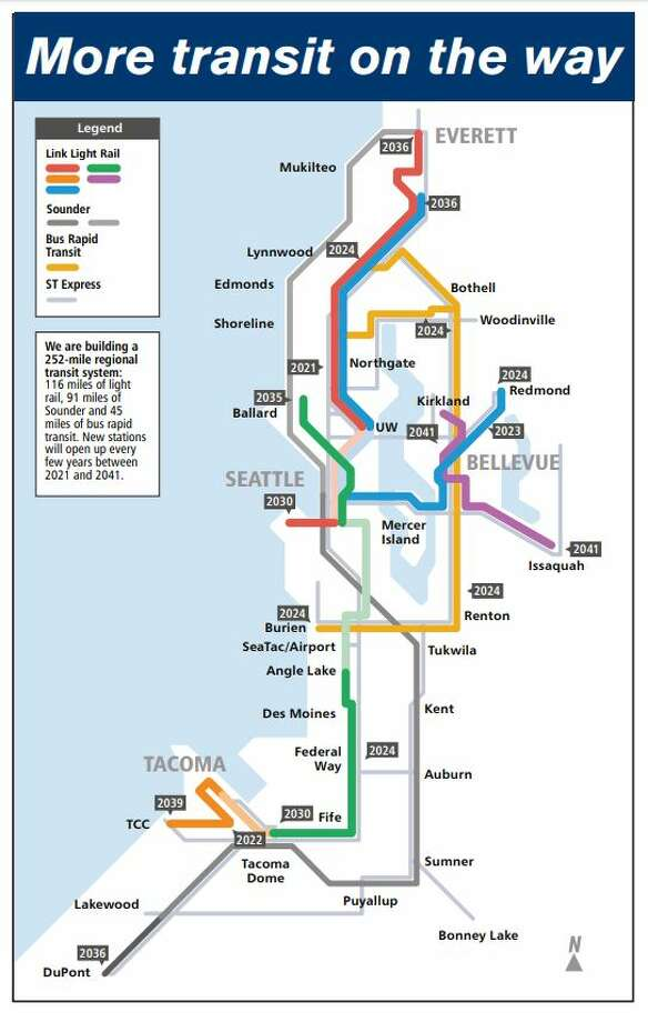 """A map found inside Sound Transit's """"Ride the Wave"""" guide for Sept. 2019-March 2020 shows the dates new light rail stations are expected to open. Photo: Courtesy Sound Transit"""